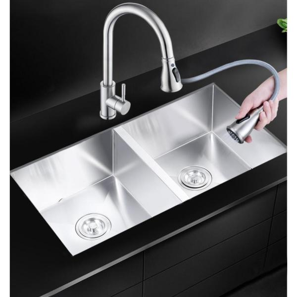 Casainc Drop In Stainless Steel 37 In 2 Hole 37 20 Double Bowl Kitchen Handmade Sink He3720 The Home Depot