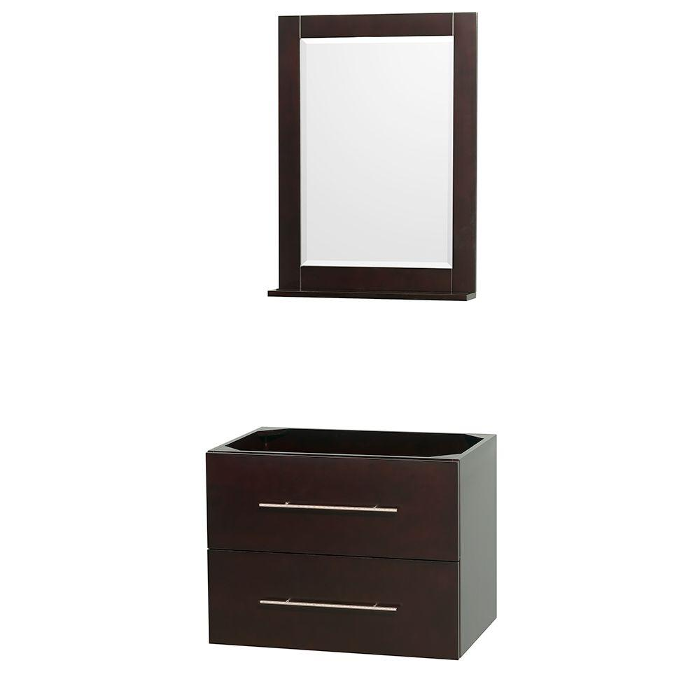 Centra 29 in. Vanity Cabinet with Mirror in Espresso