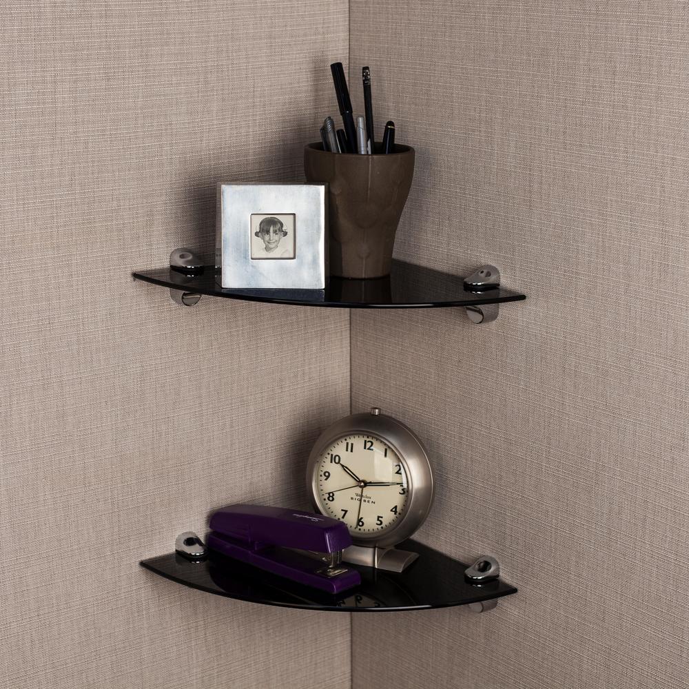 Pristine 10 in. Radius Black Smoke Glass Radial Floating Shelves with Chrome Brackets (Set of 2)