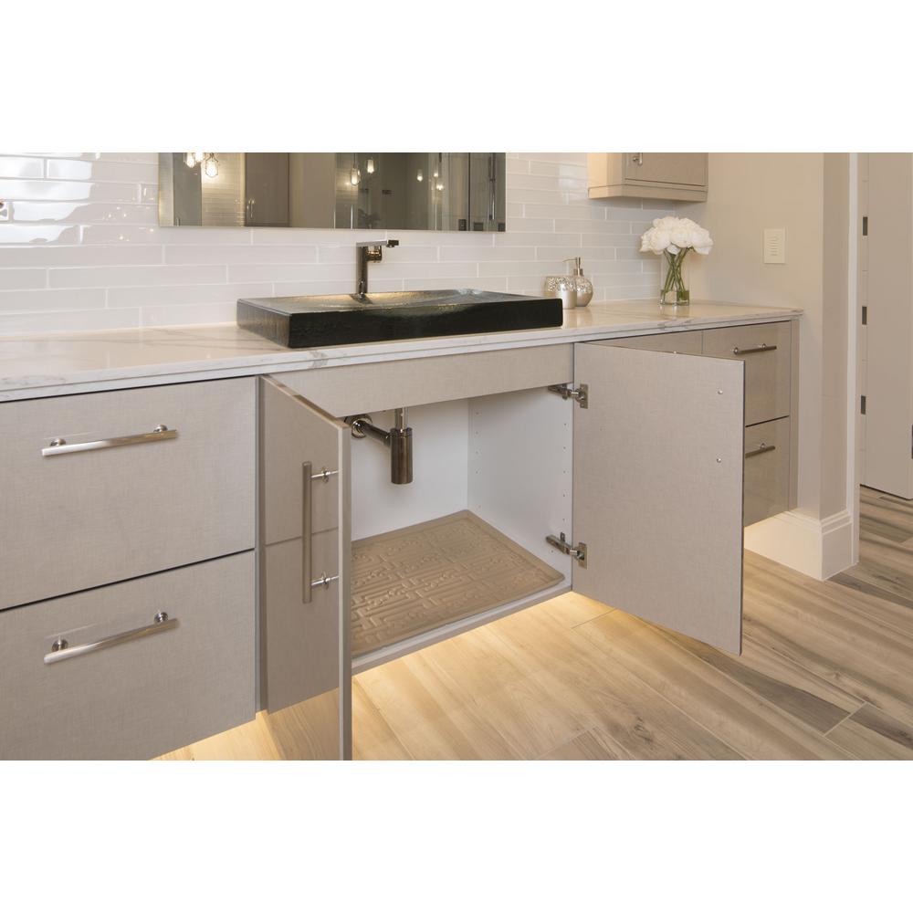 Beige Bathroom Vanity Depth Under Sink Cabinet Mat Drip Tray Shelf Liner 24 5 8 In X 18 7