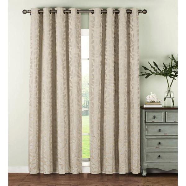Semi-Opaque Alpine Textured Woven Leaf Jacquard 84 in. L Grommet Curtain Panel Pair, Ivory (Set of 2)