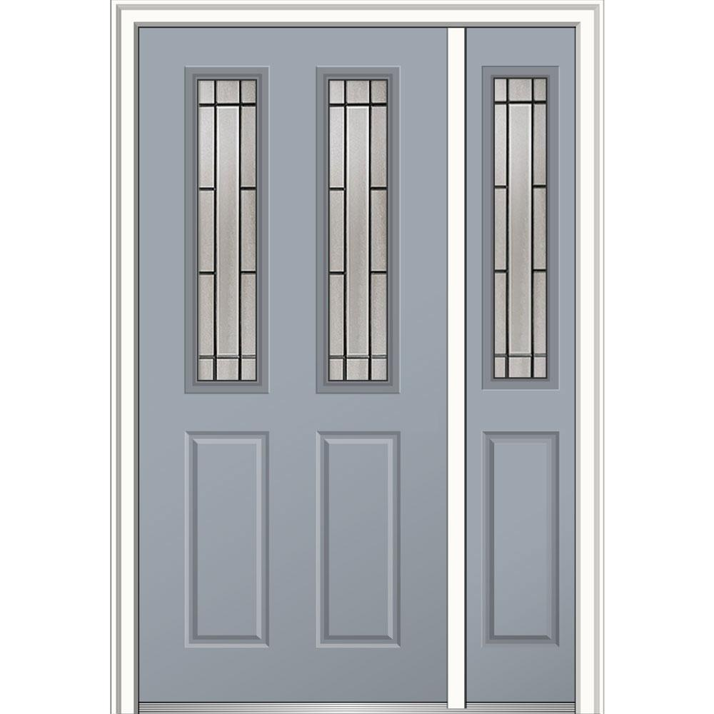 Mmi door 50 in x 80 in solstice right hand 2 1 2 lite 2 for Prehung exterior doors with storm door