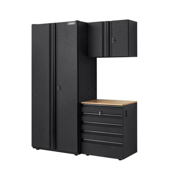 Heavy Duty Welded 64 in. W x 81 in. H x 24 in. D Steel Garage Cabinet Set with LINE-X Coating in Black (3-Piece)