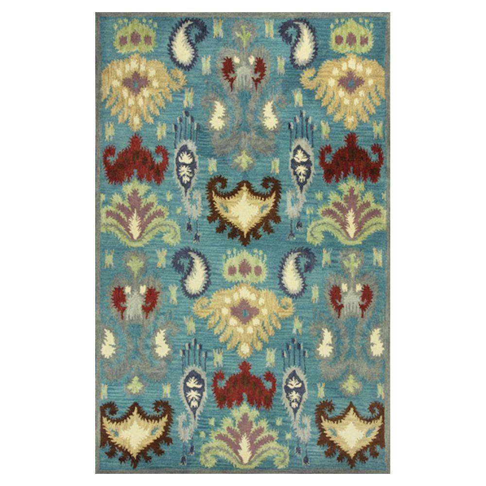 Kas Rugs Modern Tribal Blue/Beige 3 ft. 3 in. x 5 ft. 3 in. Area Rug