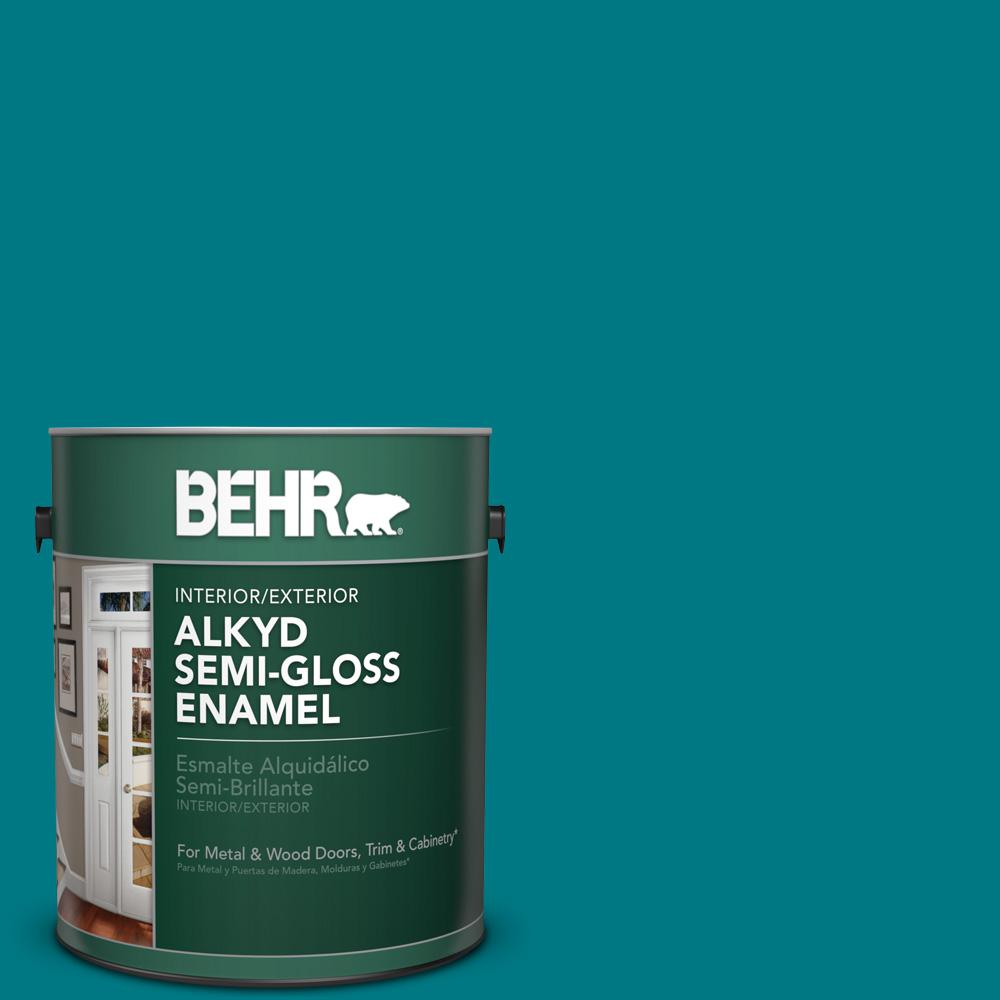 1 gal. #P470-7 The Real Teal Semi-Gloss Enamel Alkyd Interior/Exterior Paint