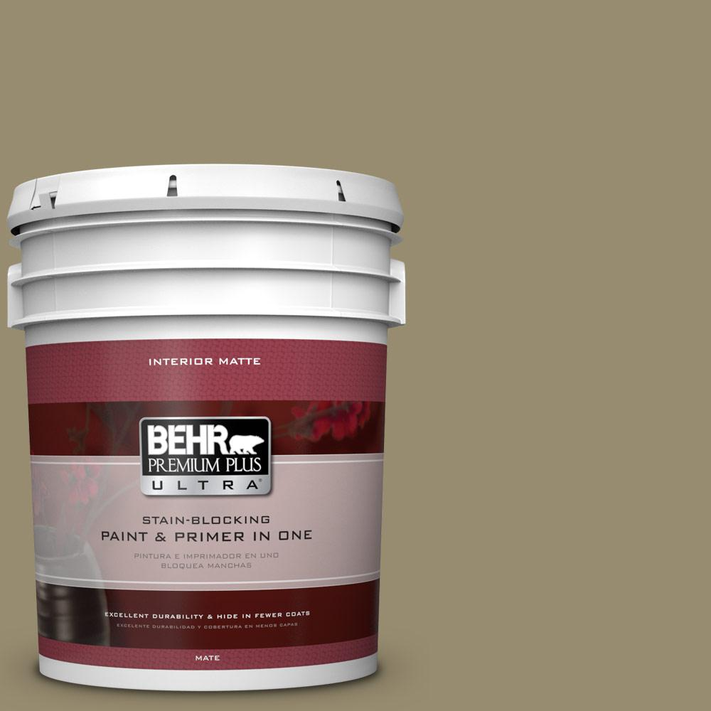 BEHR Premium Plus Ultra 5 gal. #PPU8-4 Urban Safari Flat/Matte Interior Paint