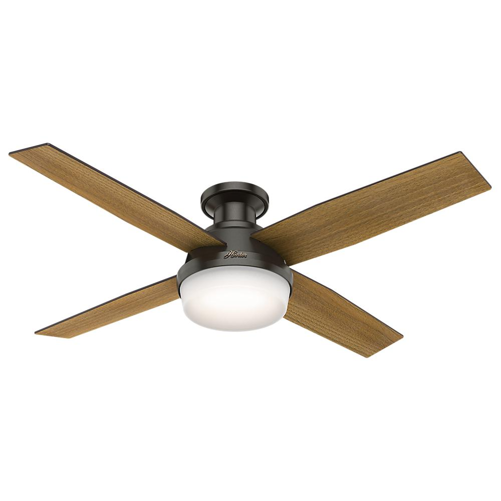 Dempsey 52 in. Low Profile LED Indoor Noble Bronze Ceiling Fan