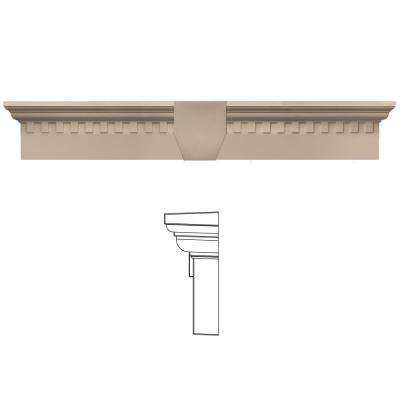 6 in. x 33 5/8 in. Classic Dentil Window Header with Keystone in 023 Wicker