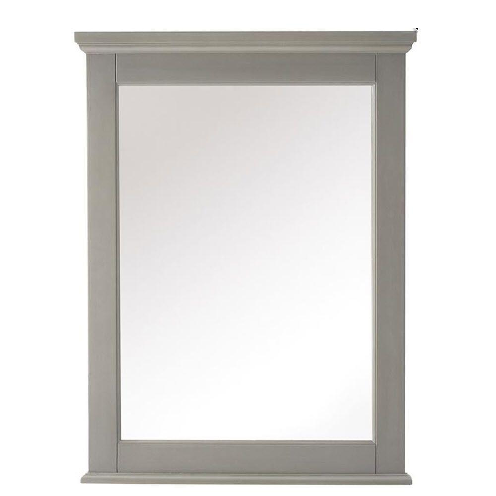 Home Decorators Collection Hamilton 32 in. H x 24 in. W Framed Wall Mirror in Grey