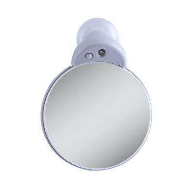10X/5X Lighted Magnification Spot Makeup Mirror in Gray