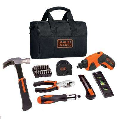 4-Volt MAX Lithium-Ion Cordless Rechargeable Screwdriver Project Kit (43-Piece) with Charger and Tool Bag