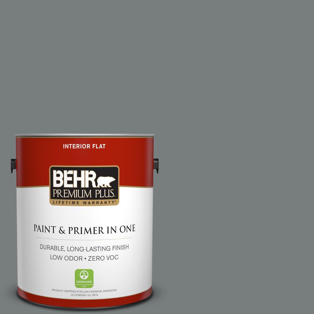 1 gal. #PPU25-18 Shutter Gray Zero VOC Flat Interior Paint