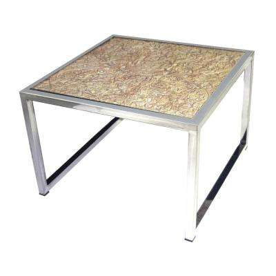 Hand Carved Natural and Stainless Steel Coffee Table