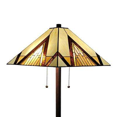 Tiffany 62 in. Gold & Tan Standing Floor Lamp with Stained Glass Shade