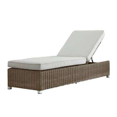 Camari Mocha Wicker Adjustable Outdoor Chaise Lounge Chair with Beige Cushion