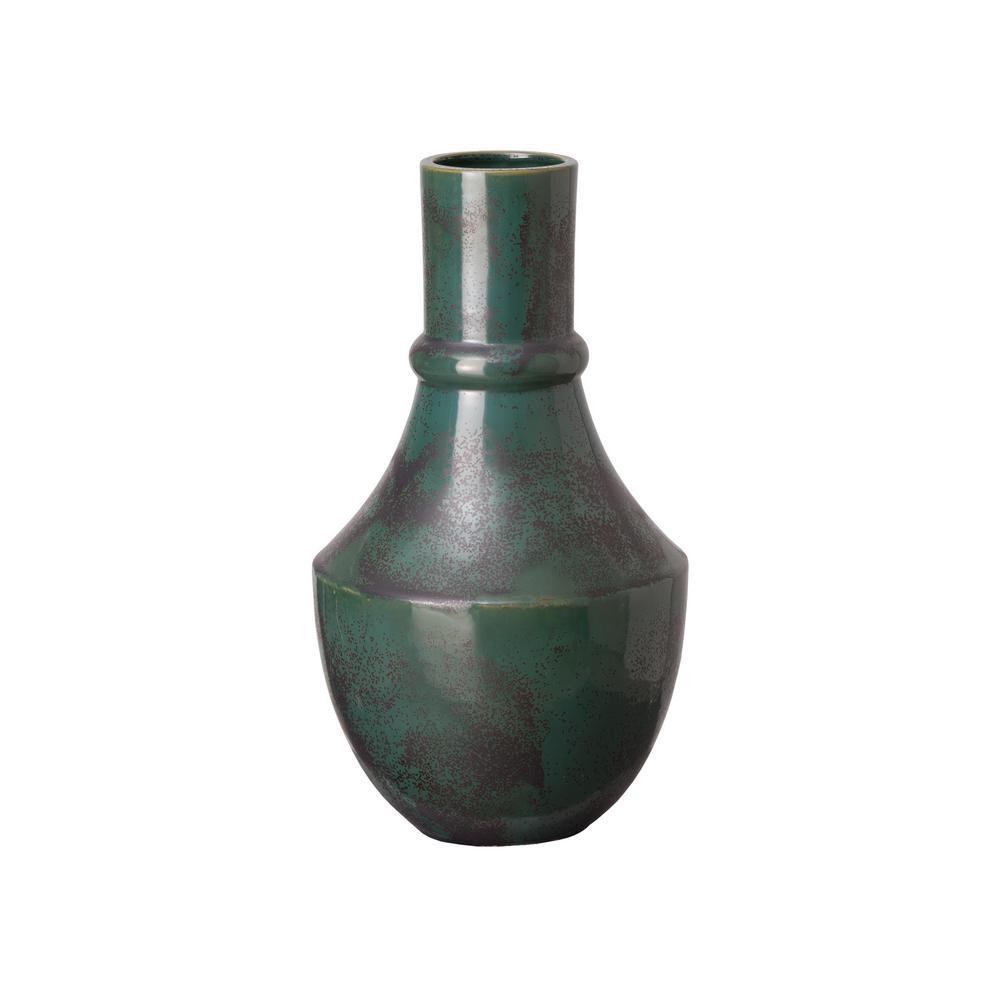 16 in. Bella Longneck Graphite Green Ceramic Vase