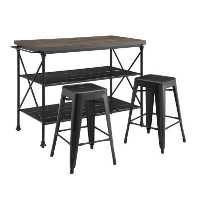 Madeline Brown Kitchen Island with Stools
