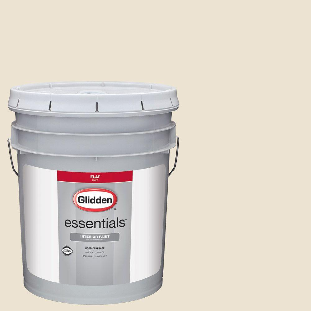 Glidden Essentials 5 Gal Hdgwn31 Elegant Ivory Cream Flat Interior Paint
