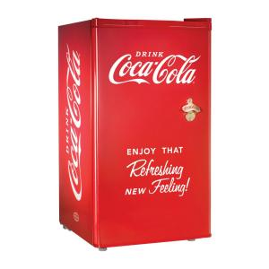 Click here to buy Nostalgia Coca-Cola 3.2 cu. ft. Mini Refrigerator in Red by Nostalgia.