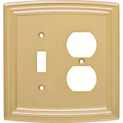 Emery Classical Single Switch and Duplex Wall Plate, Brushed Brass