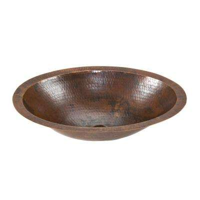 Under-Counter Small Oval Hammered Copper Bathroom Sink in Oil Rubbed Bronze