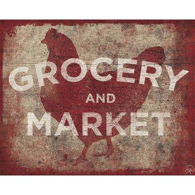 "20 in. x 24 in. ""Chicken Country Grocery and Market Sign"" Barnwood Framed Wall Art Print"