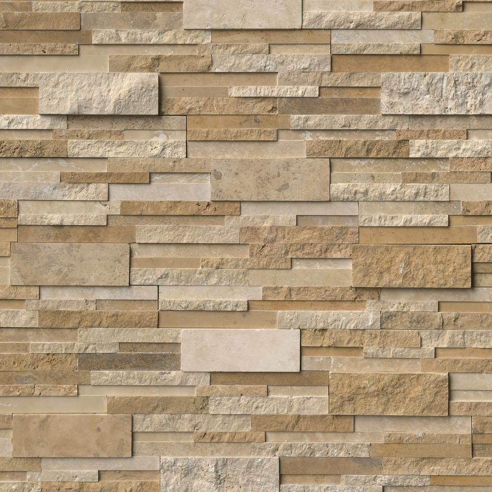 Casa Blend 3D Ledger Panel 6 in. x 24 in. Multi Finish Natural Quartzite Wall Tile (10 cases / 80 sq. ft. / pallet)
