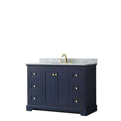 Avery 48 in. W x 22 in. D Bathroom Vanity in Dark Blue with Marble Vanity Top in White Carrara with White Basin