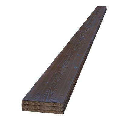 1 in. x 6 in. x 8 ft. Deep Sea Blue Charred Wood Pine Project Board (3-Pack)