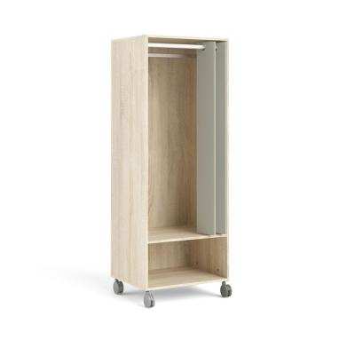 Lola Oak Structure/Natural Fabric 1 Shelf Mobile Wardrobe with Hanging Rod and Curtain