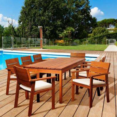 Lombardo 9-Piece Eucalyptus Rectangular Patio Dining Set with Off-White and Beige Cushions