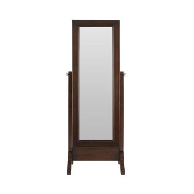 StyleWell Mahogany Finish Jewelry Mirror with Straight Top and Sliding Door (18 in W. X 59 in H.)