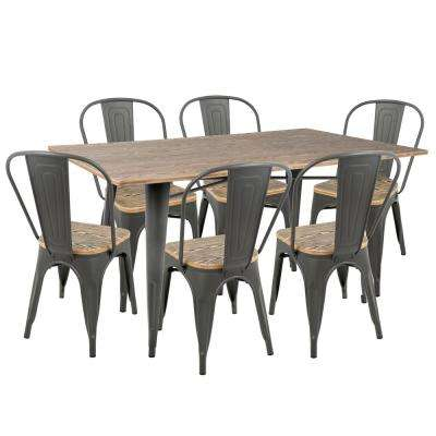Oregon 7-Piece Grey and Brown Dining Set