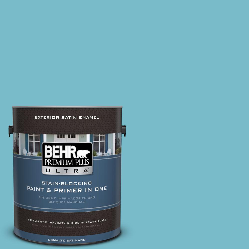 BEHR Premium Plus Ultra 1-gal. #M470-4 Azure Lake Satin Enamel Exterior Paint