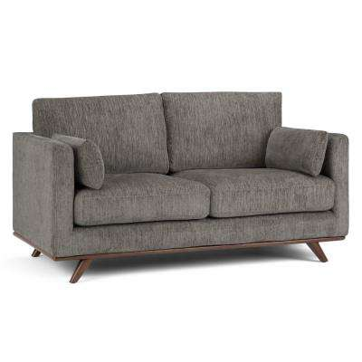 Calvin Mid Century Modern 63 in. Wide Sofa Loveseat in Granite Chenille Look Fabric