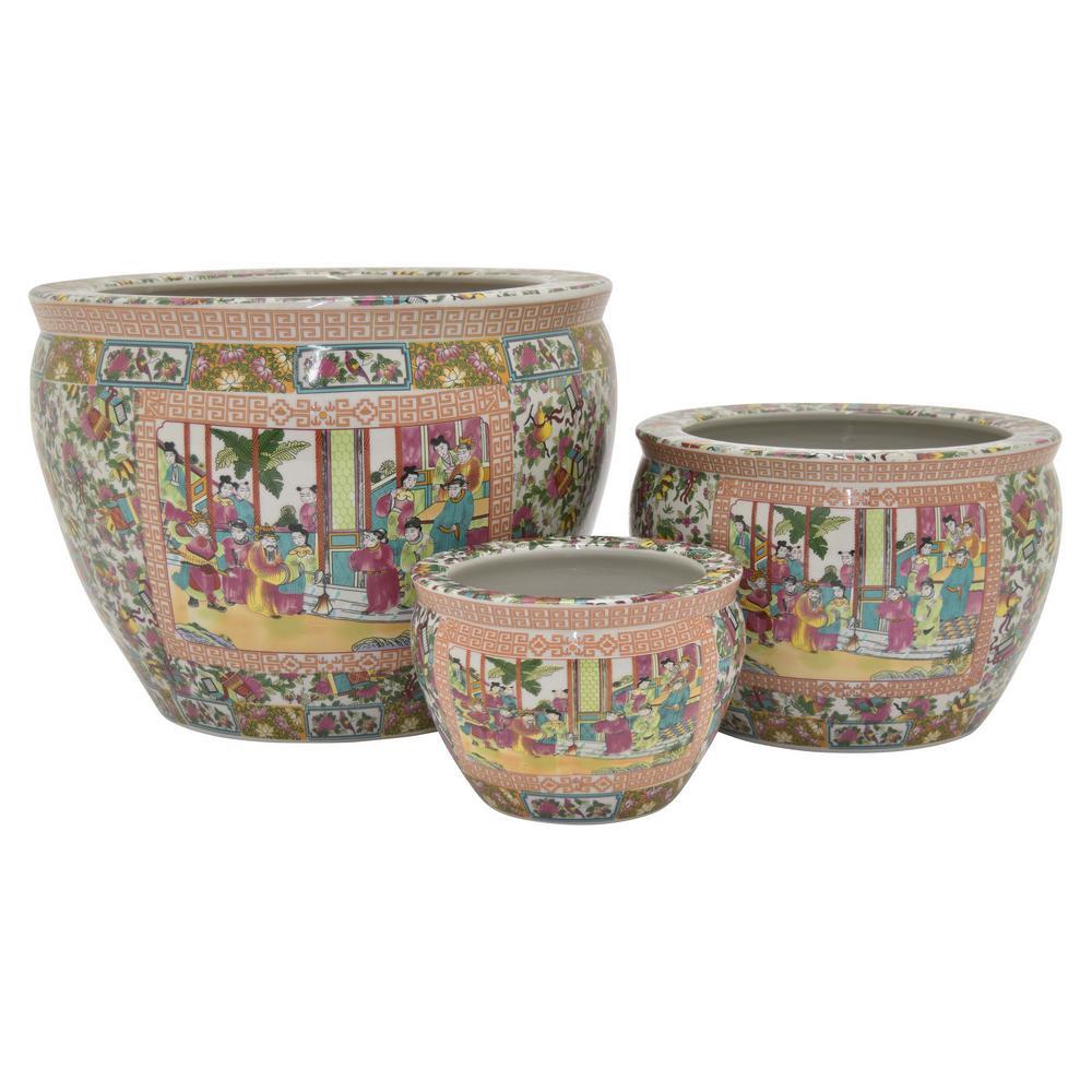 17 in. L x 17 in. W x 13 in. H Multi-Colored Porcelain-Ceramic Fish Bowl (Set of 3)