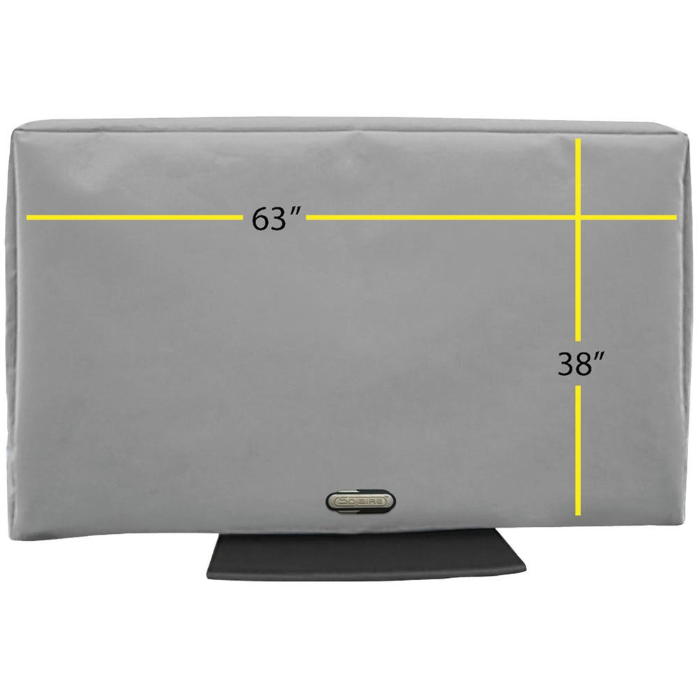 63 in. - 70 in. Outdoor TV Cover Enjoy watching TV on your deck, by your pool, from your hot tub or anywhere outdoors with the Solaire 32 in. - 38 in. Outdoor TV Cover. Know your TV is protected in any weather. Give your electronics investments the best protection from the elements with this durable TV cover made from the finest marine grade elements. Measure your TV for the best fitting cover. This cover is 32 in. W by 23 in. H by 4 in. D.