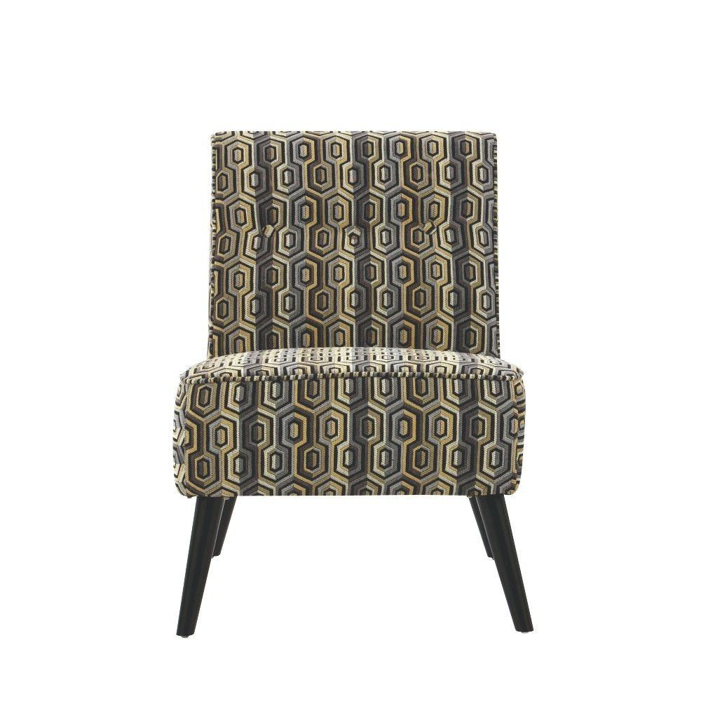 Home Decorators Collection Kyle Polyester Side Chair in Maze Grey and Gold