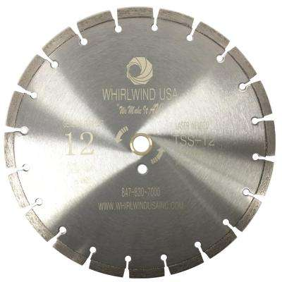 12 in. 20-Teeth Segmented Laser Welded Diamond Blade for Dry or Wet Cutting Concrete, Stone, Brick and Masonry