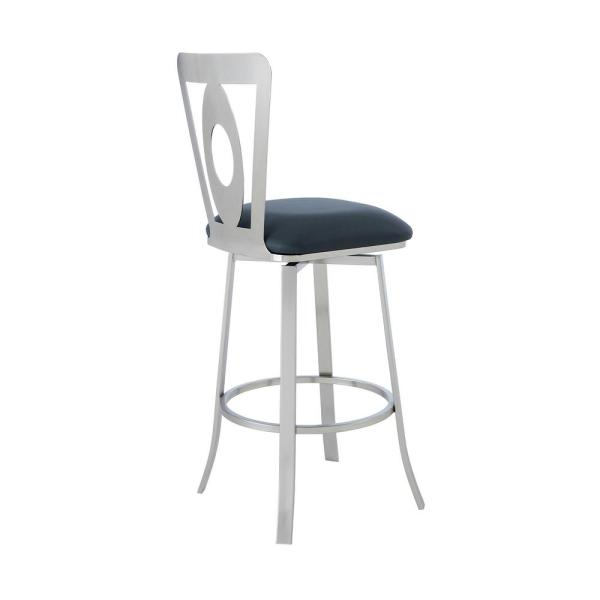 Armen Living Akira Contemporary 26 In Counter Height In Brushed Stainless Steel Finish And Grey Faux Leather Bar Stool 721535737581 The Home Depot