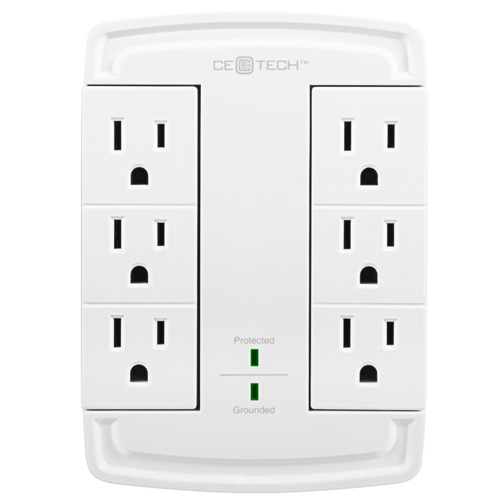 6-Outlet Swivel Wall Tap Surge Protector, White