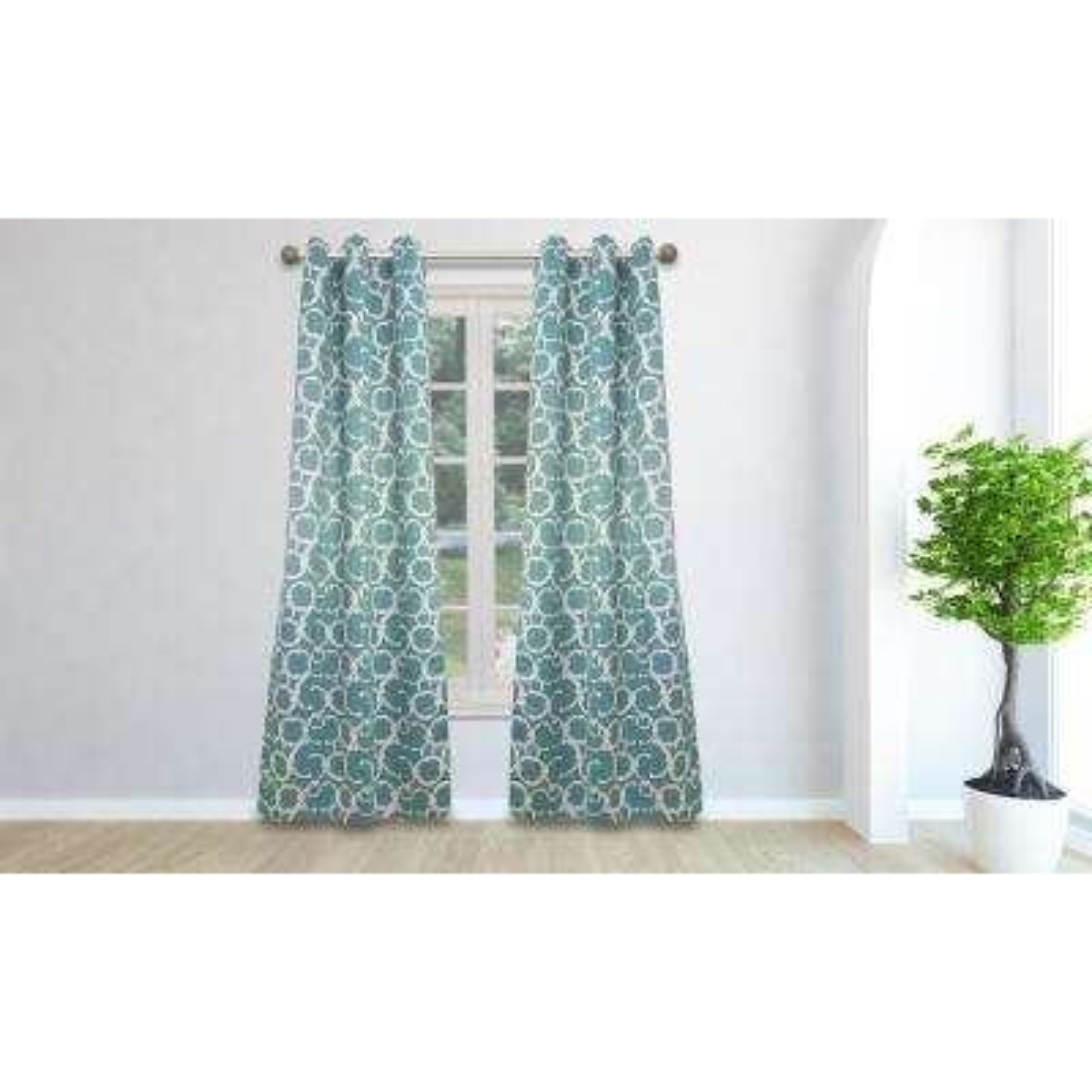 Geometric Dusty Teal Polyester Blackout Grommet Window Curtain 38 in. W x 84 in. L (2-Pack)