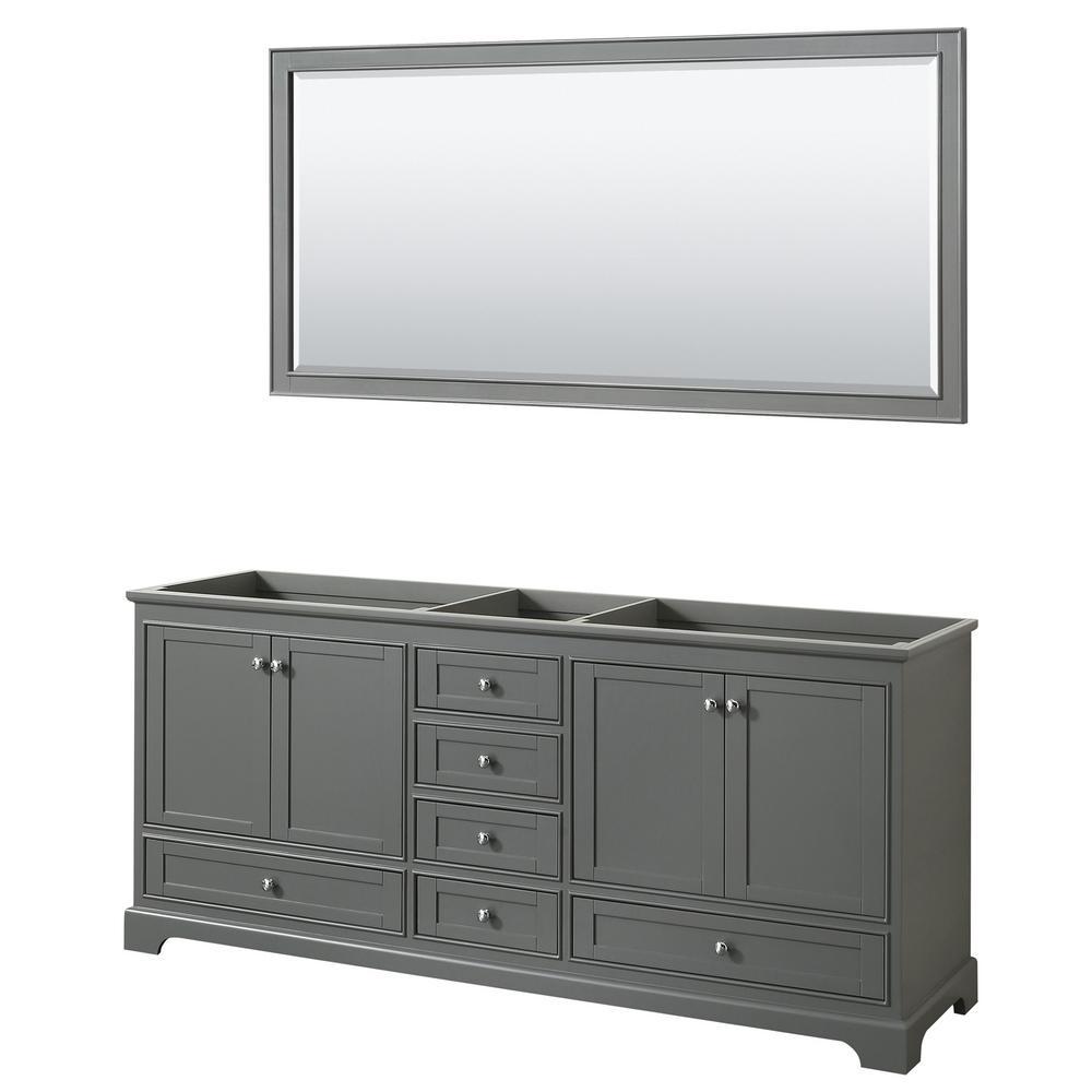 Deborah 79 in. Double Bathroom Vanity Cabinet Only with 70 in. Mirror in Dark Gray