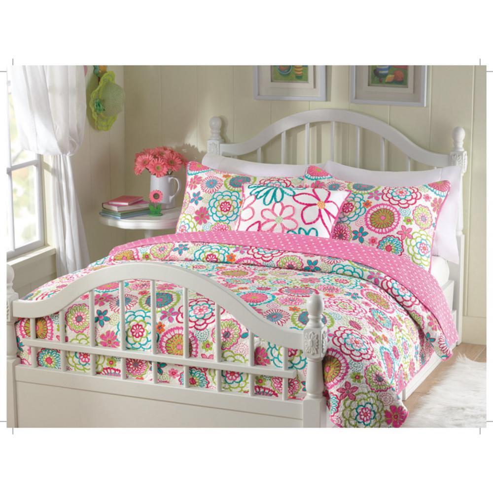 Bloom Flower Power Floral 4-Piece Multi-Color Pink Blue Green Orange Polyester Queen Comforter Bedding Set&Throw Pillow