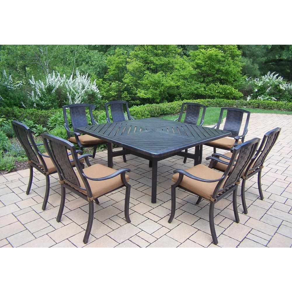 Oakland living 9 piece square aluminum patio dining set for Canvas dining