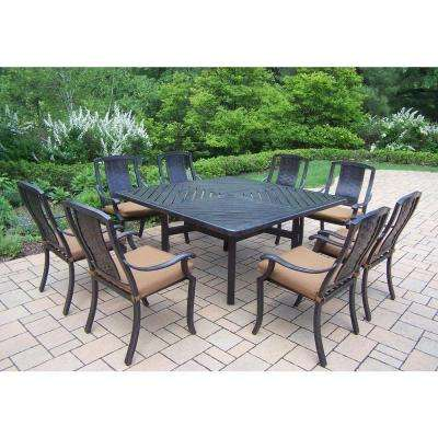 9 Piece Square Aluminum Patio Dining ...