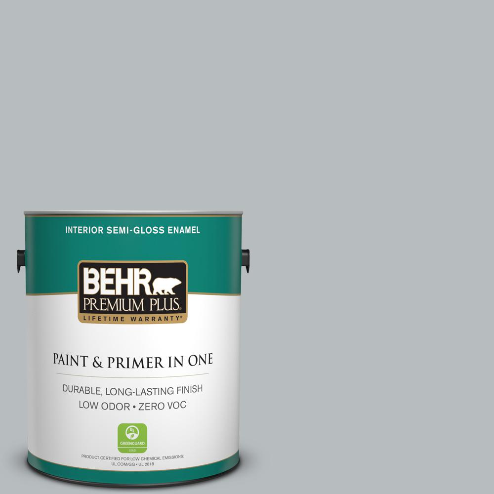 1 gal. #PPU18-05 French Silver Zero VOC Semi-Gloss Enamel Interior Paint