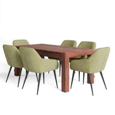 Marley II 7-Piece 72 in. Wide Table in Light Green Linen Look Fabric 6-Upholstered Dining Chairs and Dining Set
