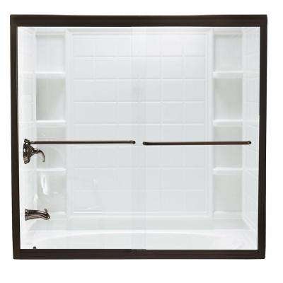 Finesse 59-5/8 in. x 58-1/16 in. Semi-Frameless Sliding Shower Door in Deep Bronze with Handle