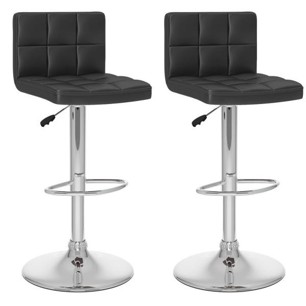 CorLiving Adjustable Black Leatherette High Back Bar Stool (Set of 2)